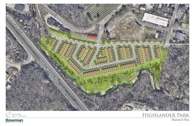 Proposed Highlander Park at Hazel Run townhouse development.