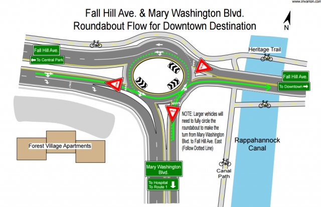 New Section of Mary Washington Blvd. Opens at Fall Hill Ave. Roundabout