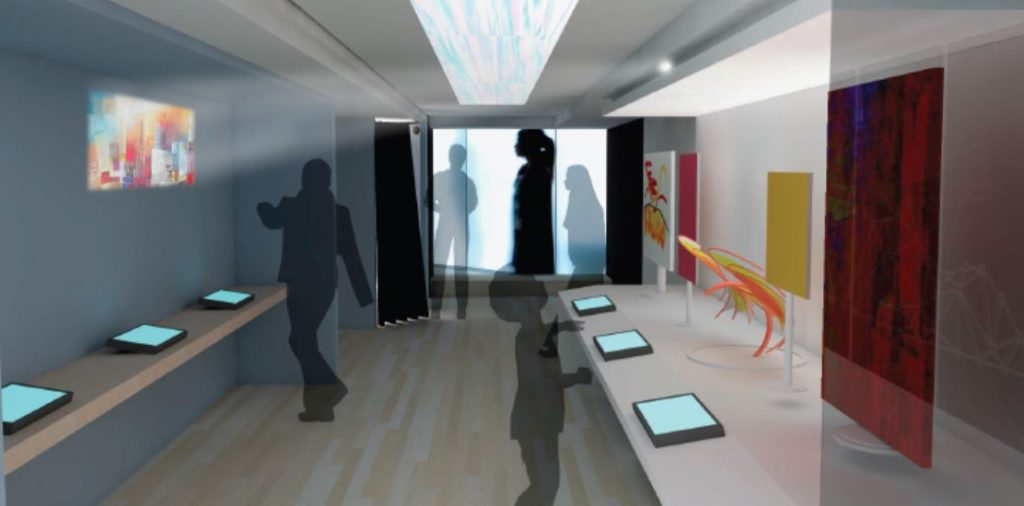 A rendering of the inside of the artmobile. Shadow people look at exhibits and tablets.
