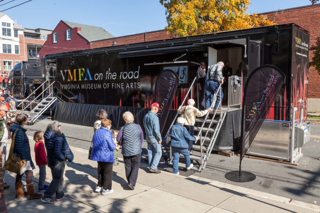 Fredericksburg locals line up to tour the inaugural VMFA on the Road exhibition