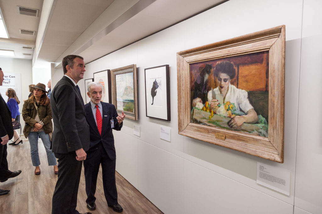 VMFA Director Alex Nyerges gives Governor Ralph Northam a tour of the newly launched VMFA on the Road