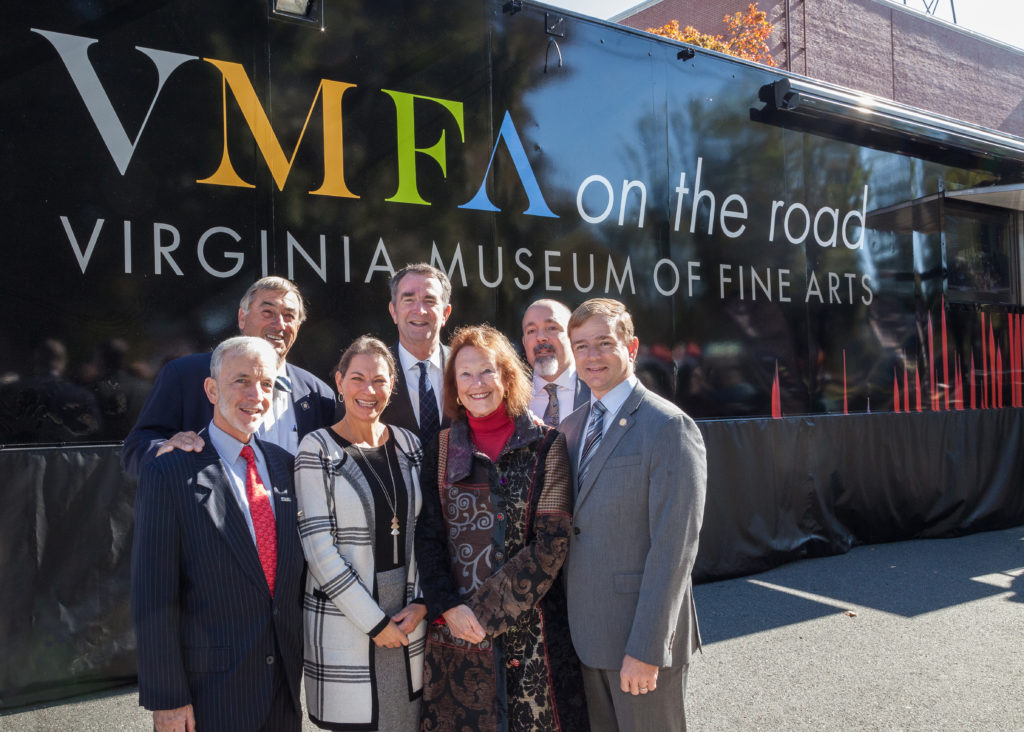 VMFA and Fredericksburg Area Museum staff, along with government officials celebrate the launch of VMFA on the Road