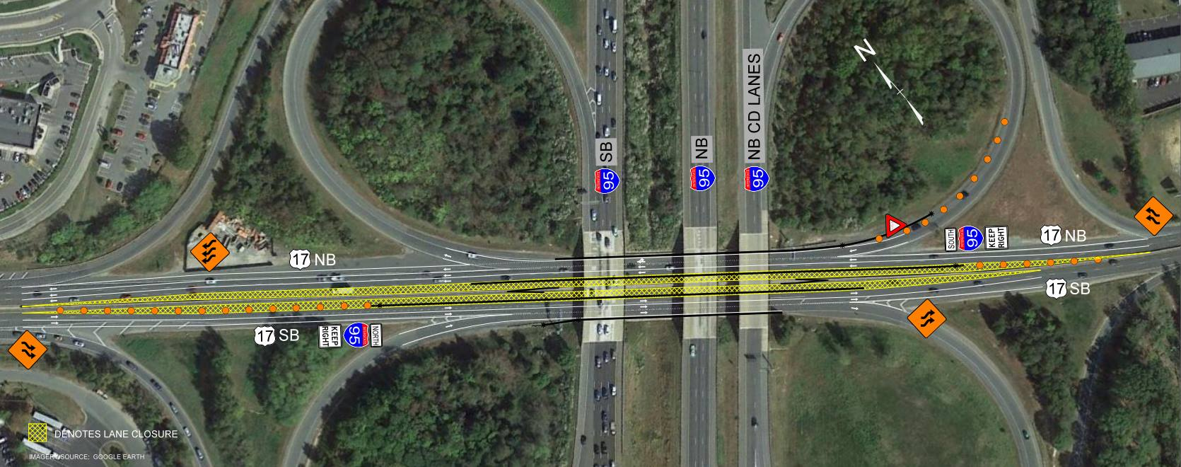 New work zone pattern at Rt. 17 and I-95 in Stafford