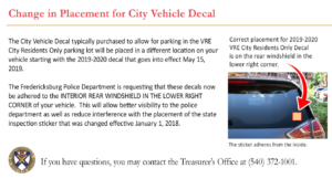 Change in placement for city vehicle decal for VRE parking