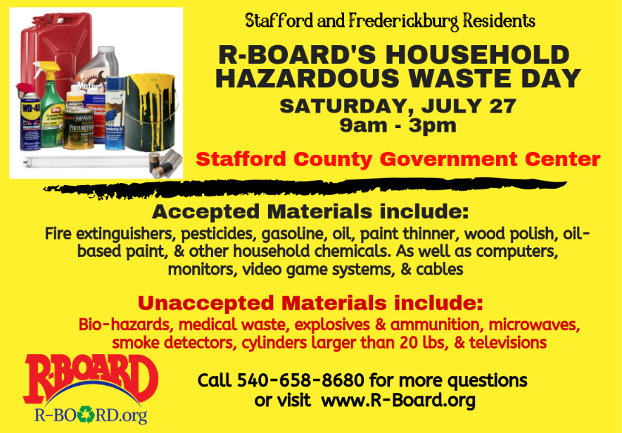 Household Hazardous Waste Day this Saturday for City and Stafford residents