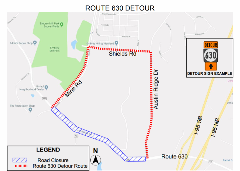 Stafford driver alert!  Courthouse Road detour Friday night-Monday morning