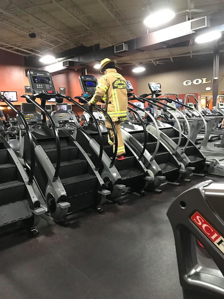 A classic picture from Gold's Gym in Fredericksburg on 9-11