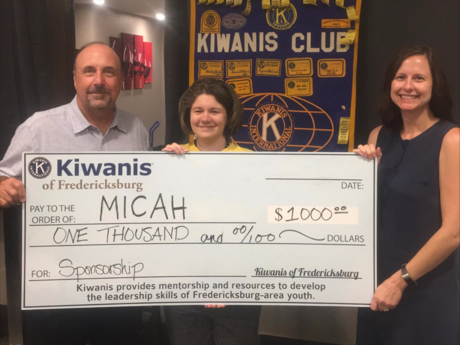 Kiwanis makes inaugural sponsorship to Micah program to assist the homeless