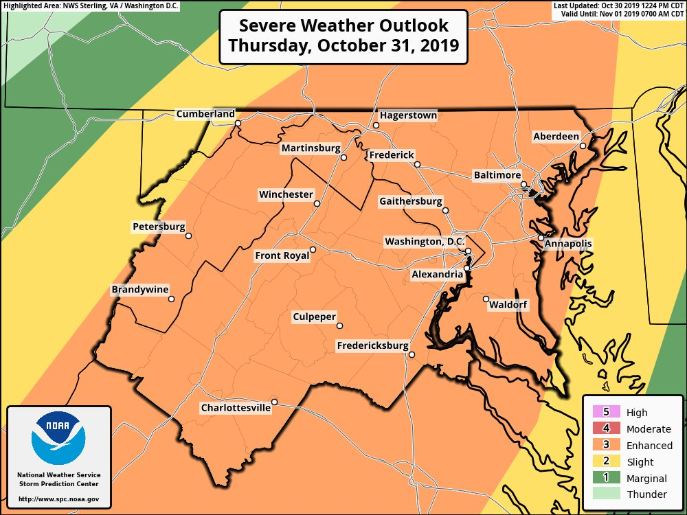 Stormy Halloween.  Severe weather possible