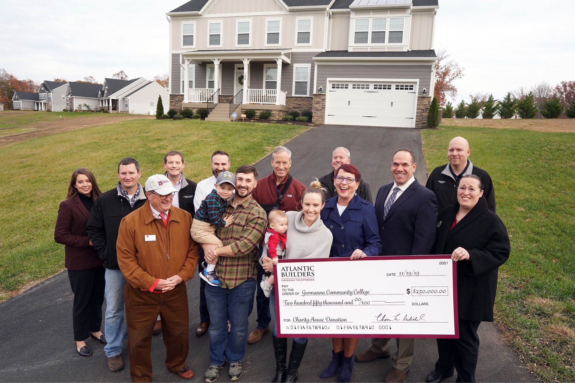 Atlantic Builders and its trade partners donate $250,000 from sale of new home in Stafford to Germanna Community College