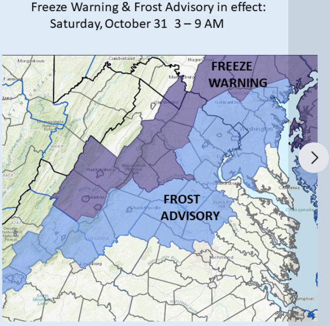 Frost Advisory until 9.  Freeze Warning to the west