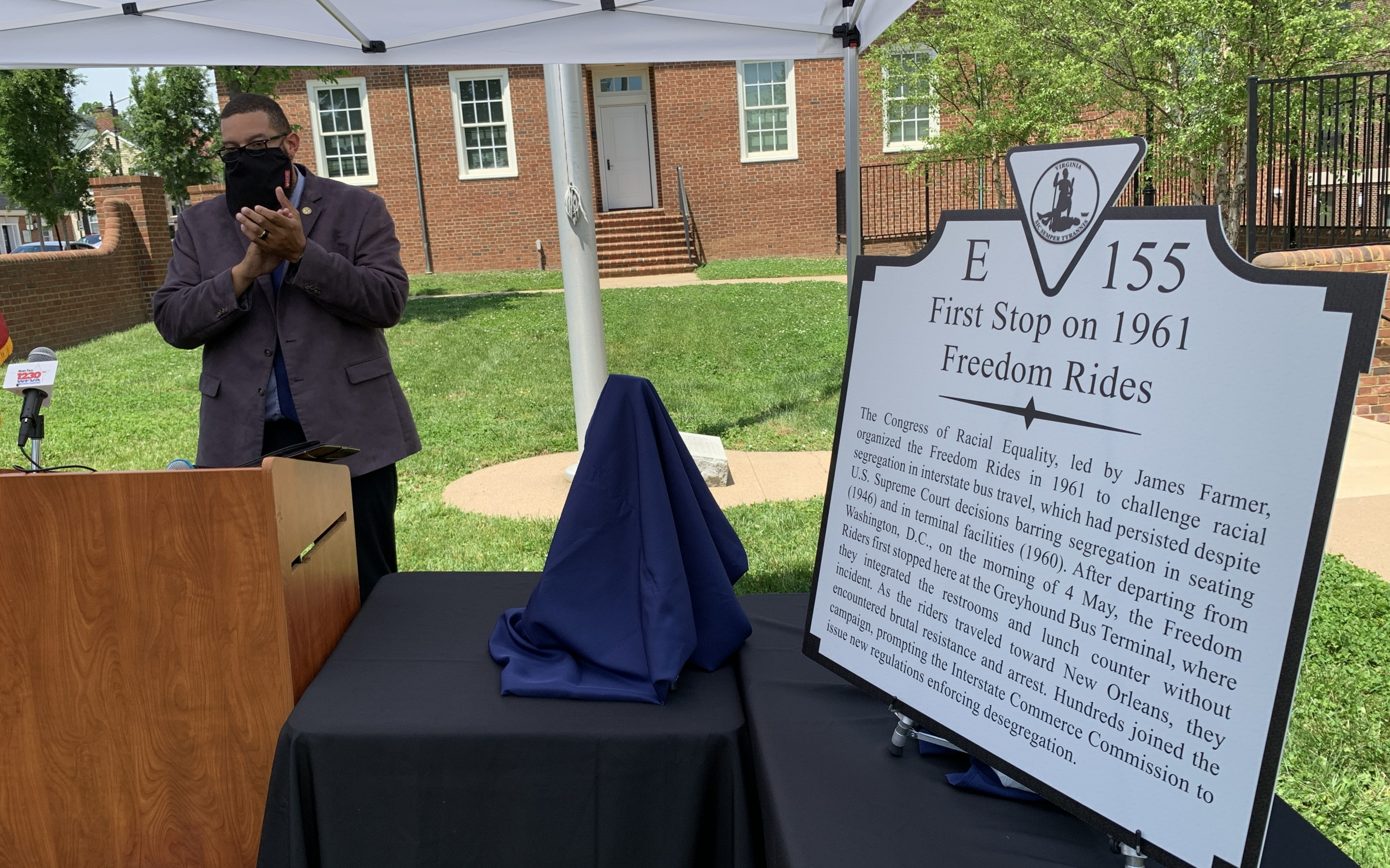 WATCH:  Temporary marker unveiled downtown near the Fire Station to honor the Freedom Riders