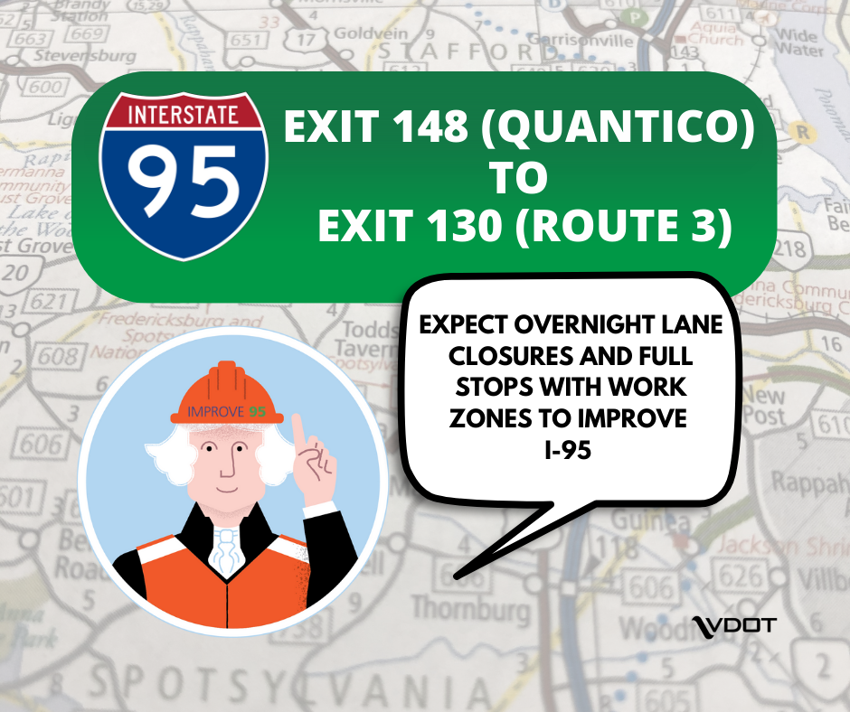 Overnight road work this week on I-95 in the region